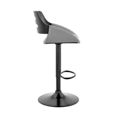 Armen Living - Karter Adjustable Grey Faux Leather and Black Wood Bar Stool with Black Base