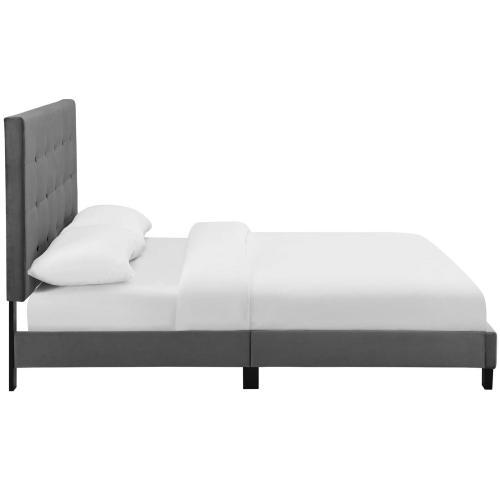 Melanie King Tufted Button Upholstered Performance Velvet Platform Bed in Gray