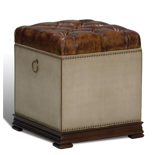 Elegant Petite Stool, Canvas & Leather
