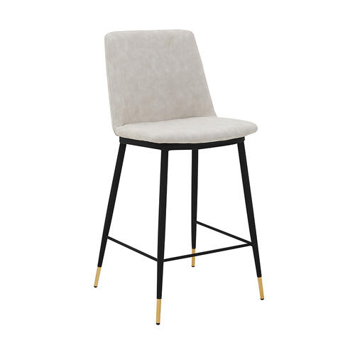 "Messina 26"" Modern Counter Height Bar Stool with Black Metal Finish and Cream Faux Leather"