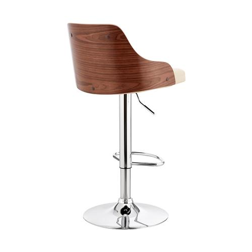 Armen Living - Asher Adjustable Cream Faux Leather and Chrome Finish Bar Stool