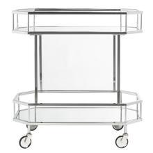See Details - Silva 2 Tier Octagon Bar Cart - Silver / Mirror
