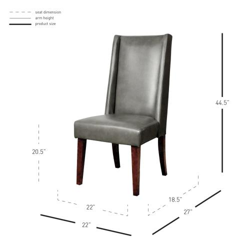 Lucas Bonded Leather KD Dining Chair, Quarry