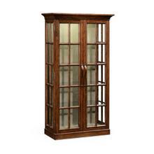 Plank walnut fully glazed bookcase with strap handles