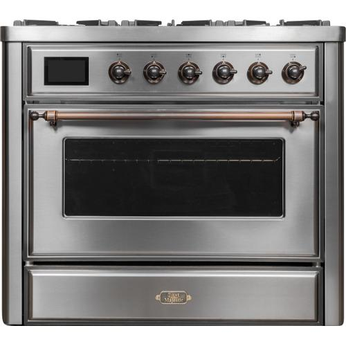 Majestic II 36 Inch Dual Fuel Natural Gas Freestanding Range in Stainless Steel with Bronze Trim