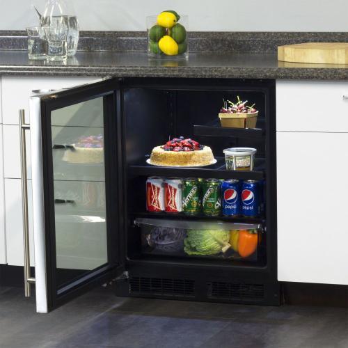 24-In Low Profile Built-In Beverage Refrigerator with Door Swing - Left