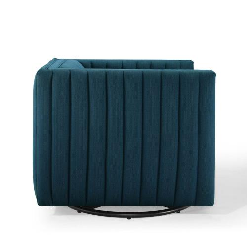 Conjure Tufted Swivel Upholstered Armchair in Azure