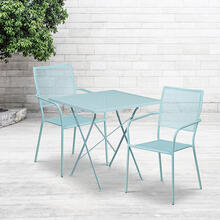 "Commercial Grade 28"" Square Sky Blue Indoor-Outdoor Steel Folding Patio Table Set with 2 Square Back Chairs"