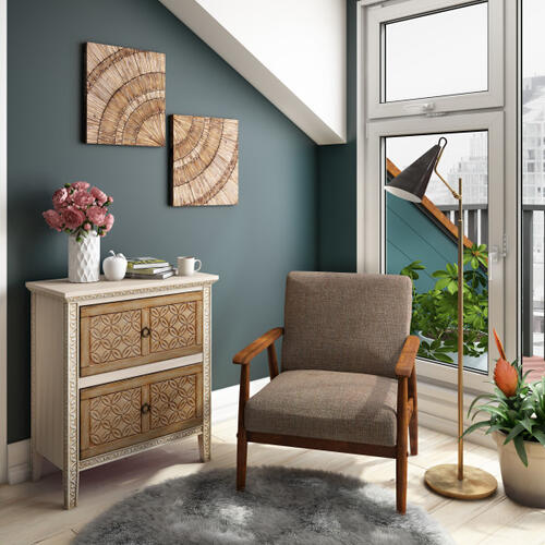 Wood Frame Accent Chair in Calypso Waterfall