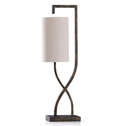BRAUN STONE TABLE LAMP  29in ht.  Hang Man Stone Like Metal Accent Desk Lamp  40 Watts