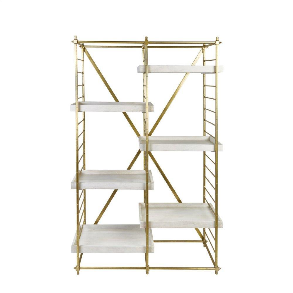 "Iron 69"" Etagere W/wood Shelves, Gold Kd"