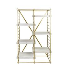 "Iron 69"" Etagere W/wood Shelves, Gold Kd"
