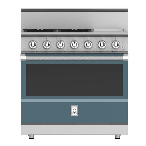 """36"""" 4-Burner All Gas Range with 12"""" Griddle - KRG Series - Pacific-fog"""