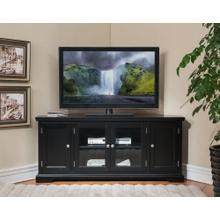 "Black Hardwood 60"" Corner TV Console #83386"