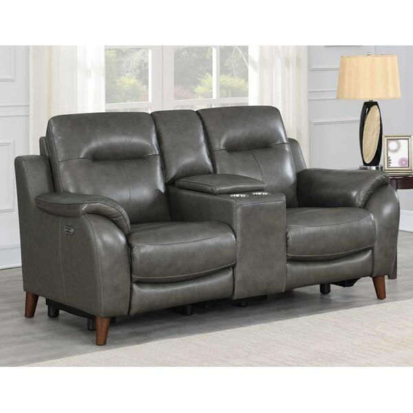See Details - Trento Dual-Power Leather Reclining Console Loveseat