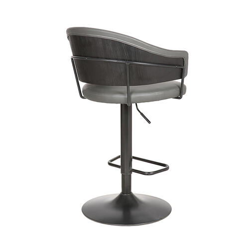Brody Adjustable Gray Faux Leather Swivel Barstool In Black Powder Coated Finish