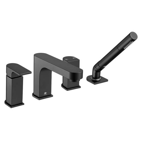 Equility Deck Mount Bathtub Faucet with Hand Shower - Matte Black