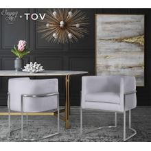 View Product - Giselle Grey Velvet Dining Chair - Silver Frame