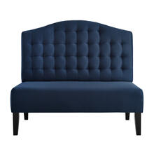 Biscuit Tufted Entryway Bench in Navy Blue Velvet