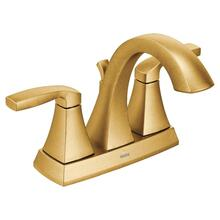 Voss brushed gold two-handle bathroom faucet