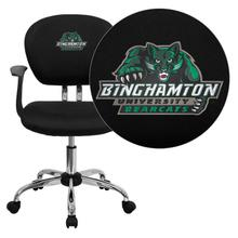 Binghamton University Bearcats Embroidered Black Mesh Task Chair with Arms and Chrome Base