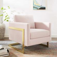 Posse Performance Velvet Accent Chair in Gold Pink