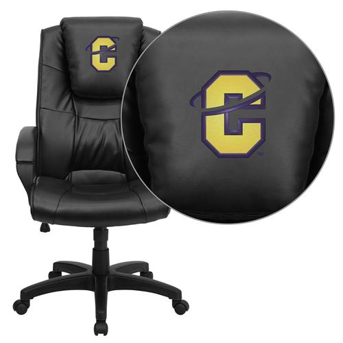 Carroll College Saints Embroidered Black Leather Executive Office Chair