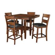 Pendleton Counter Height Table and Four Chairs Set, Dark Cherry Brown Product Image