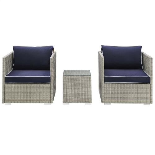 Repose 3 Piece Outdoor Patio Sectional Set in Light Gray Navy