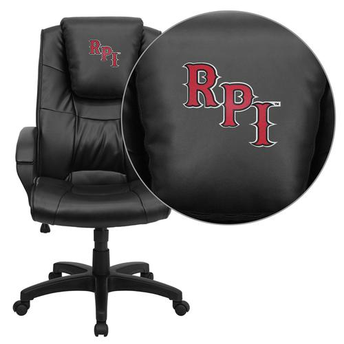 Rensselaer Polytechnic Institute Embroidered Black Leather Executive Office Chair