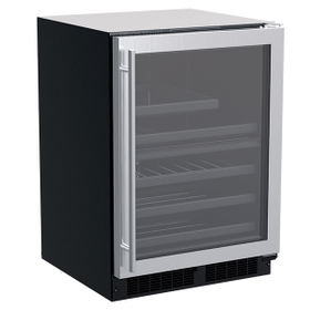 24-In Built-In Dual Zone Wine And Beverage Center with Door Style - Stainless Steel Frame Glass