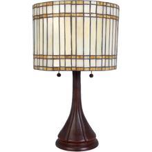Table Lamp, Ant. Bronze/tiffany Shade, E27 Cfl 11wx2