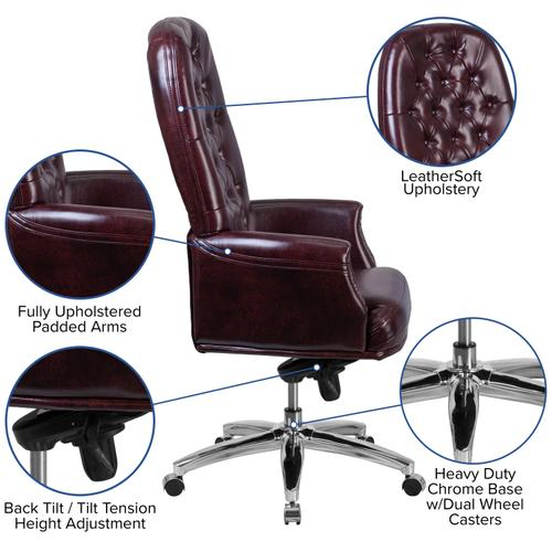 Gallery - High Back Traditional Tufted Burgundy LeatherSoft Multifunction Executive Swivel Ergonomic Office Chair with Arms