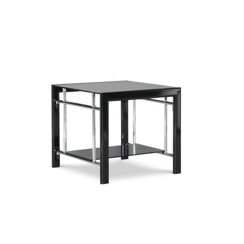 One Glass Shelf Rectangular End Table, Black and Chrome