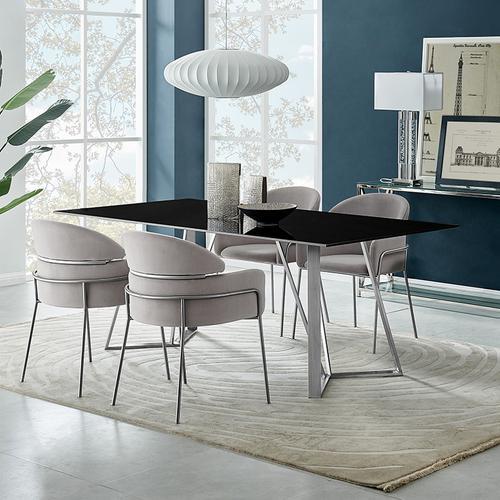 Cressida and Portia Gray Fabric 5 Piece Rectangular Dining Set