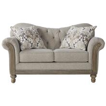 Metropolitan Fabric Tufted Loveseat in Sandstone with Pillows