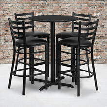 Product Image - 30'' Round Black Laminate Table Set with X-Base and 4 Ladder Back Metal Barstools - Black Vinyl Seat