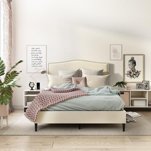 Accentrics Home - Arched, Nailhead Trim Upholstered Full Platform Bed in Beige