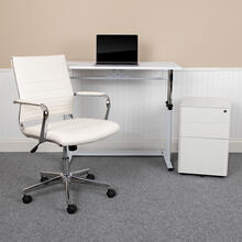 See Details - Work From Home Kit - White Adjustable Computer Desk, LeatherSoft Office Chair and Side Handle Locking Mobile Filing Cabinet