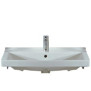 Isabella Collection rectangular china wall mount basin with chrome overflow and rear center drain. Product Image