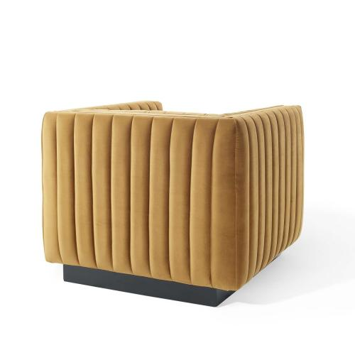 Modway - Conjure Channel Tufted Performance Velvet Accent Armchair in Cognac
