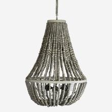 "Manika Beaded Chandelier, Gray - Large(**40"" cord, not adjustable)"