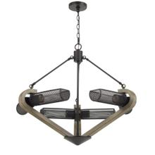 60W X 6 Baden Metal/Wood Chandelier With Mesh Shades (Edison Bulbs Are Not included)