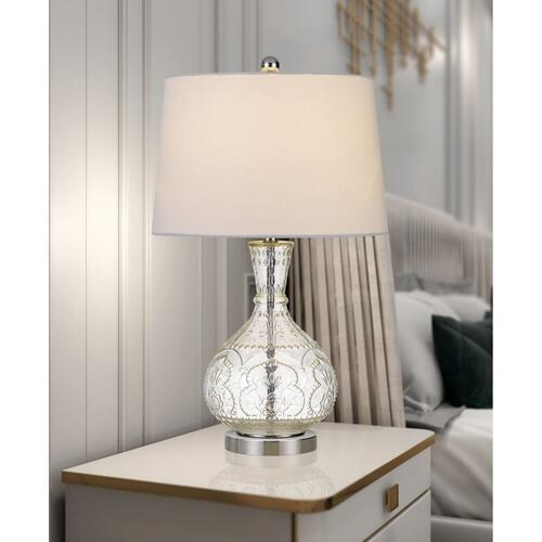 150W Nador Glass Table Lamp With Taper Drum Hardback Fabric Shade