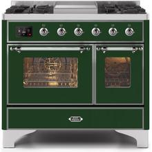 Majestic II 40 Inch Dual Fuel Natural Gas Freestanding Range in Emerald Green with Chrome Trim