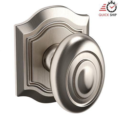 Baldwin - Satin Nickel with Lifetime Finish 5077 Bethpage Knob with R027 Rose