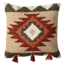 Terracotta & Tan Medallion Kilim Pillow with Tassels