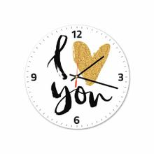 I Love You Gold Round Acrylic Wall Clock