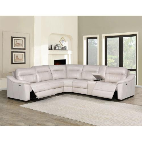 Casa 6-Piece Leather Dual-Power Reclining Sectional, Ivory