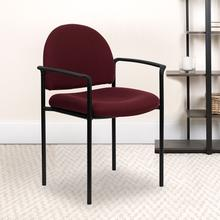 View Product - Comfort Burgundy Fabric Stackable Steel Side Reception Chair with Arms
